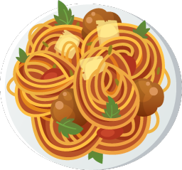 a plate with spaghetti. Better as a basic menu.